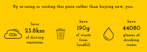 Icons and stats showing how much carbon, waste from landfill and water is saved by renting a garment.