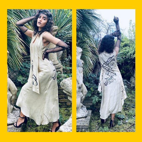 Two Photos of the Afghan Gold Bombyx Mori Maxi Dress