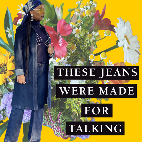 These Jeans Were Made for Talking text on a floral background with a photo of a model in Midnight Denim Jacket and Straight Jean Suit