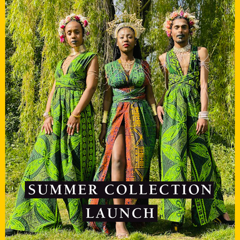Summer Collection Launch banner set over an image of three models in floor-length green outfits