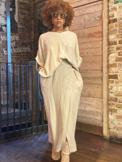 Au Naturale Flax Wrap Skirt + Half Knit Poncho Co-ord - One Wear Freedom #product_tags#