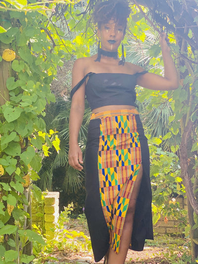 Black + Yellow Kente Split Skirt + Crop Top Co-ord - One Wear Freedom handmade front