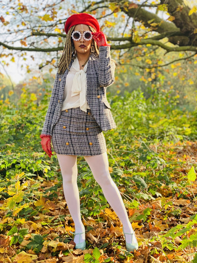 Classic Black + White Tweed Mini Skirt + Blazer Suit - One Wear Freedom #product_tags#