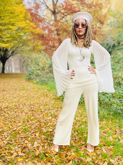 Creamy Angel Wings + Jersey Trouser Co-ord - One Wear Freedom #product_tags#