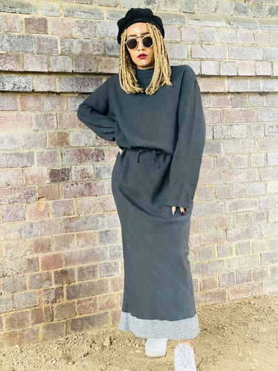 Dark Fantasy Maxi Skirt + Drawstring Crop Hoodie Co-ord - One Wear Freedom #product_tags#