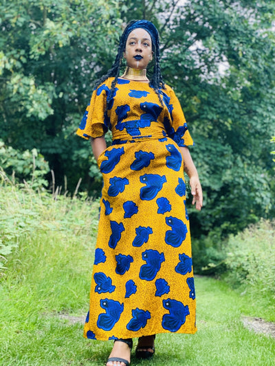 Golden West African Royal Blue Caftan + Waist Belt - One Wear Freedom - Front Main w/ Waist Belt