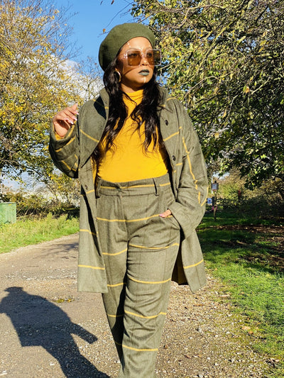 Hunter Green + Sunshine Stripe Jacket + Straight Trouser Suit - One Wear Freedom #product_tags#