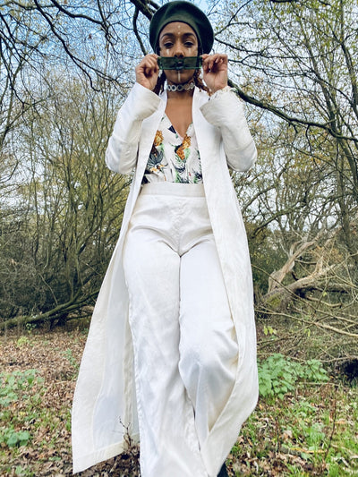 Ivory Bombyx Mori Maxi Jacket + Trouser Suit - One Wear Freedom #product_tags#