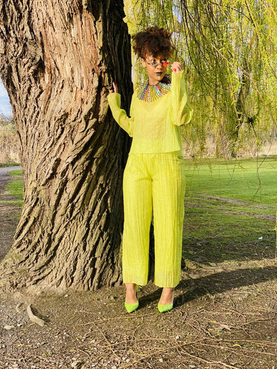 Lime Shimmer + Chiffon Blouse + Trouser Co-ord - One Wear Freedom - Front Main