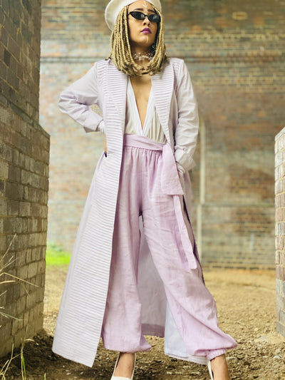 Mallow Lilac Maxi Coat with Pleated Collar + Linen Cuff Trouser Co-ord - One Wear Freedom #product_tags#