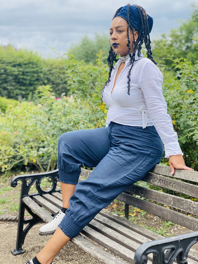 Navy Bluebell Flax Trousers - One Wear Freedom #product_tags#