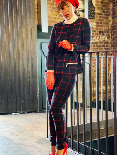 Navy + Red Plaid Longline Jumper + Straight Trouser Co-ord - One Wear Freedom #product_tags#