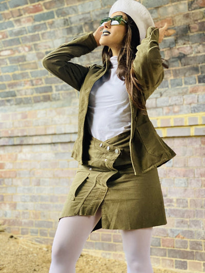 Olive Deconstructed Corduroy Mini Skirt + Blazer Suit - One Wear Freedom #product_tags#