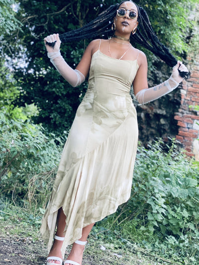 Shades of Khaki Boho Waterfall Dress - One Wear Freedom #product_tags#