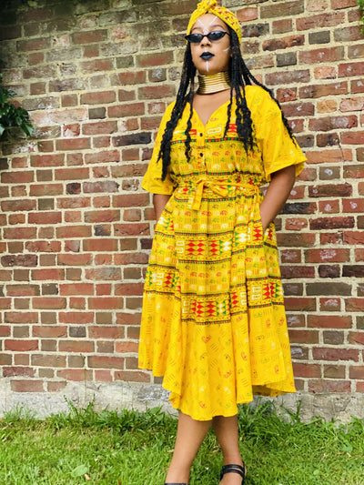 Sunshine in Soweto Dress with Waist Belt + Headwrap - One Wear Freedom #product_tags#