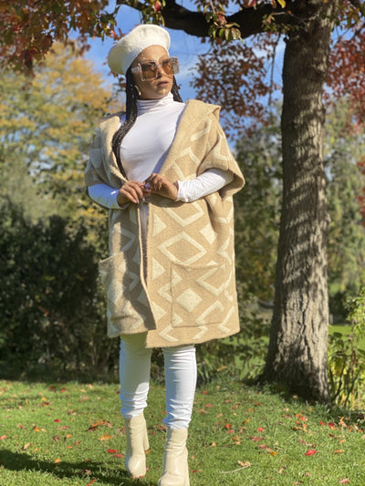 Tan Diamond Hooded Cardigan - One Wear Freedom #product_tags#