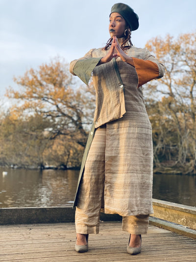 Varnished Vellum Maxi Wrap Coat with Olive + Tangerine Silk Panels + Trouser Co-ord - One Wear Freedom #product_tags#