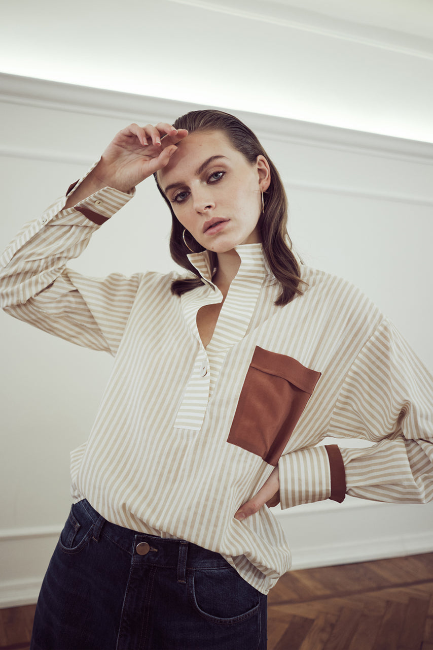 MIASŌ-ONE-POCKET-SHIRT-camicia-donna-in-cotone-a-righe- con-tasca