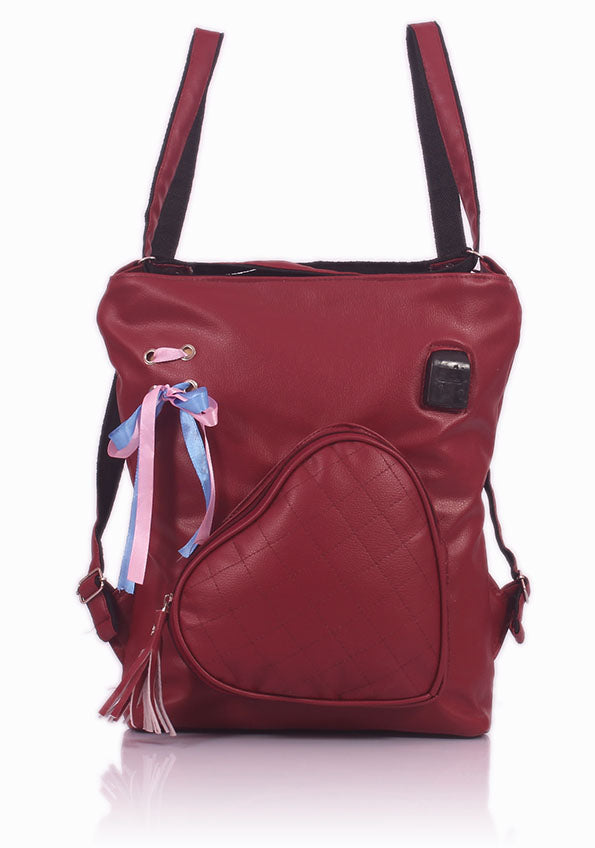 Deal Especial Girl's Synthetic Convertible Hobo Backpack Maroon Bag