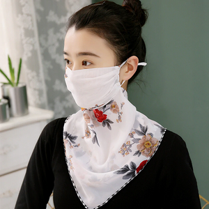 Woman Lightweight Sun Protection Silk Scarf & Face Mask