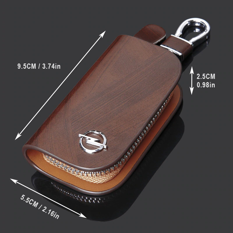Leather Wood Texture Car Key Case
