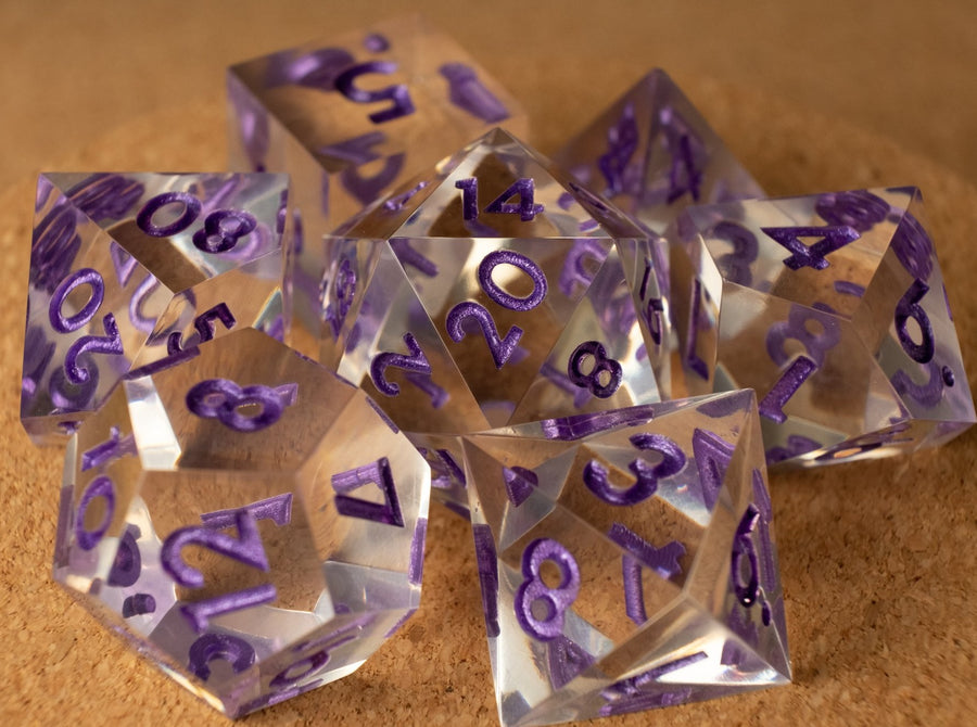 Crystal clear dice set w/metallic purple ink