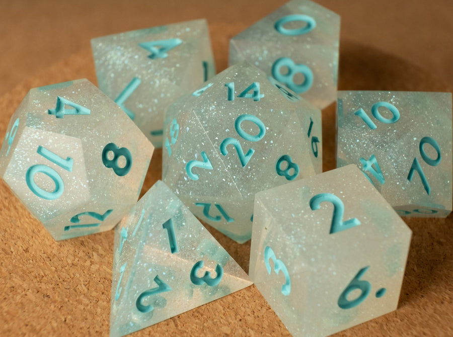 Frozen dice set w/matte seafoam ink