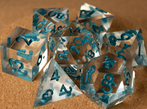 Crystal clear dice set w/metallic dark teal ink