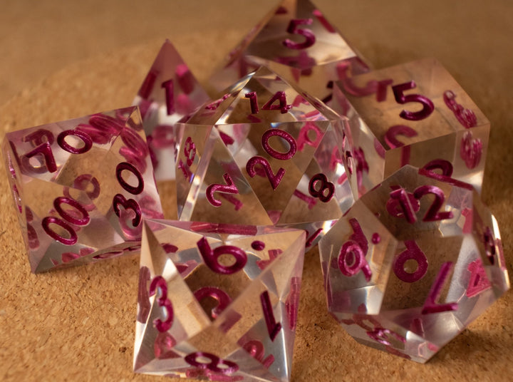 Crystal clear dice set w/metallic magenta ink
