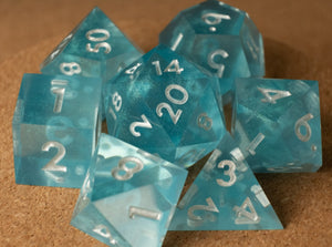 Translucent aqua dice set w/metallic white ink