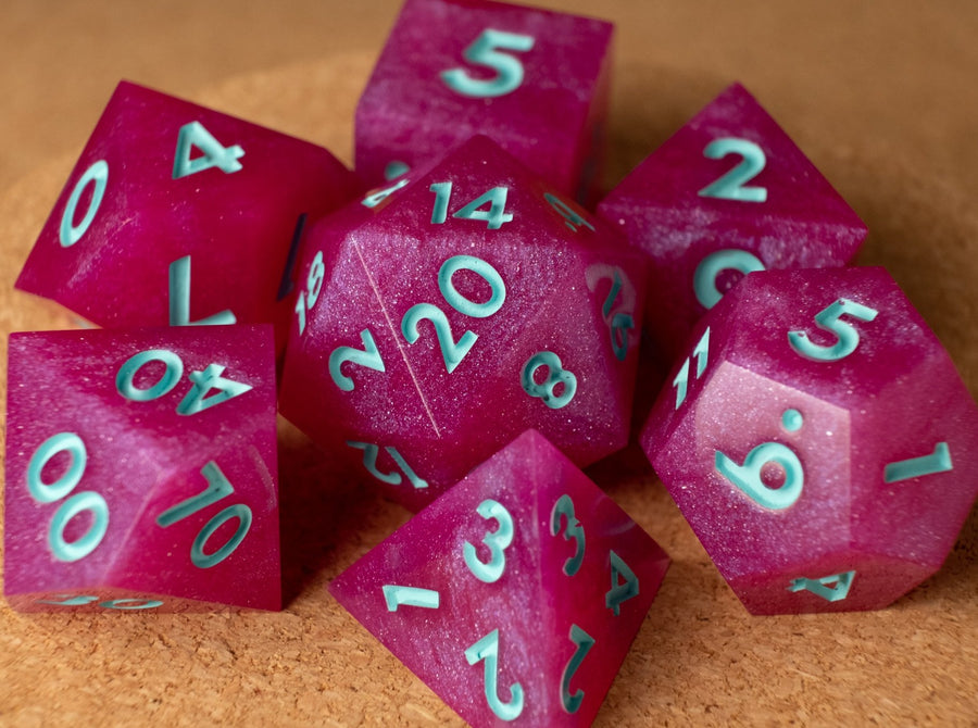 Hot pink dice set w/matte seafoam ink
