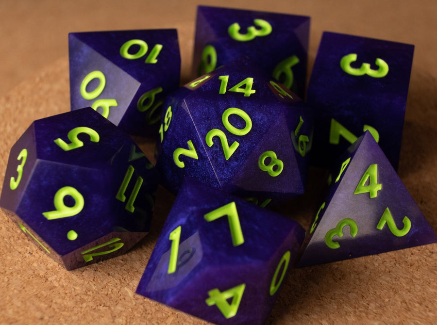Deep purple dice set w/neon green ink