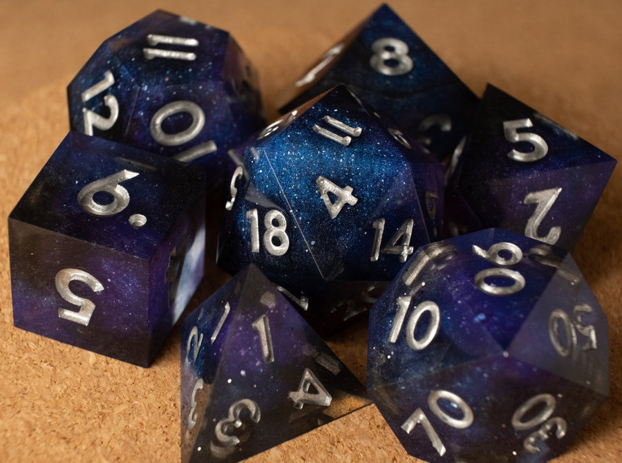 Galaxy dice set w/metallic silver ink