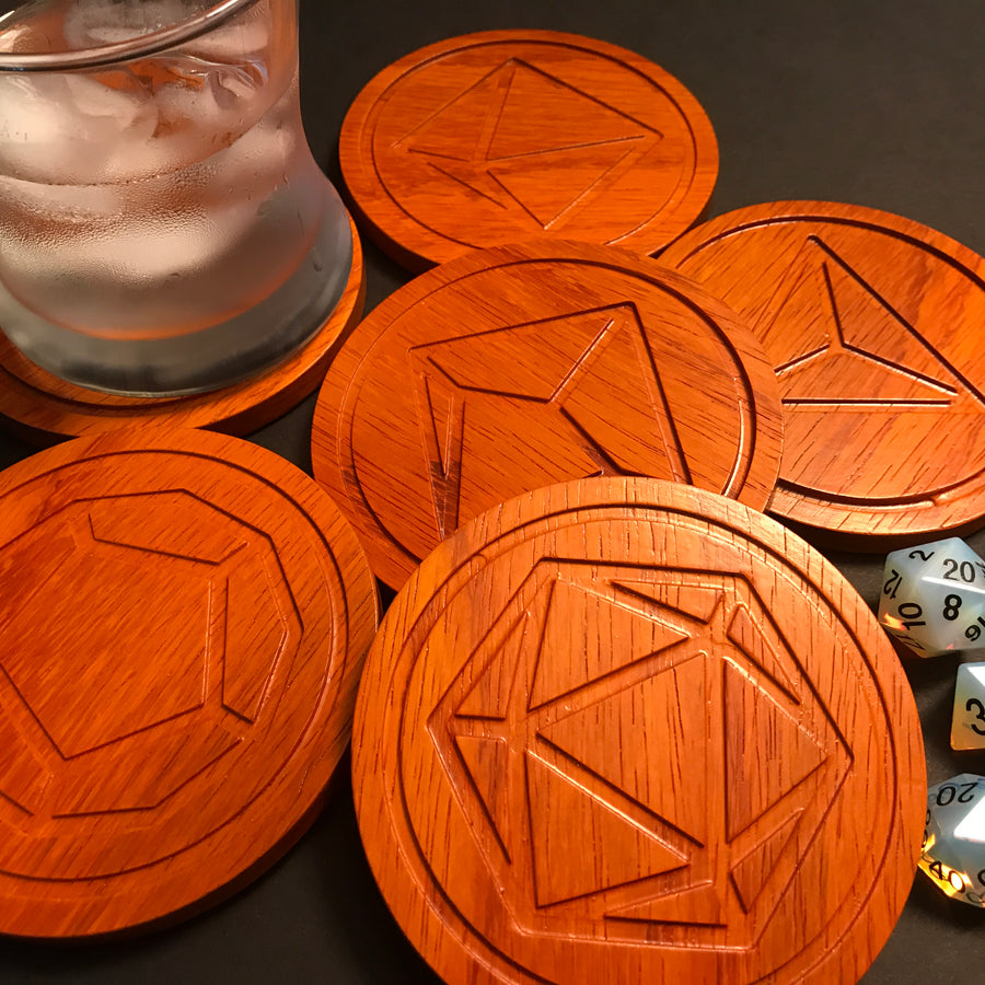 Padauk Polyhedral Dice Coasters (set of 6)