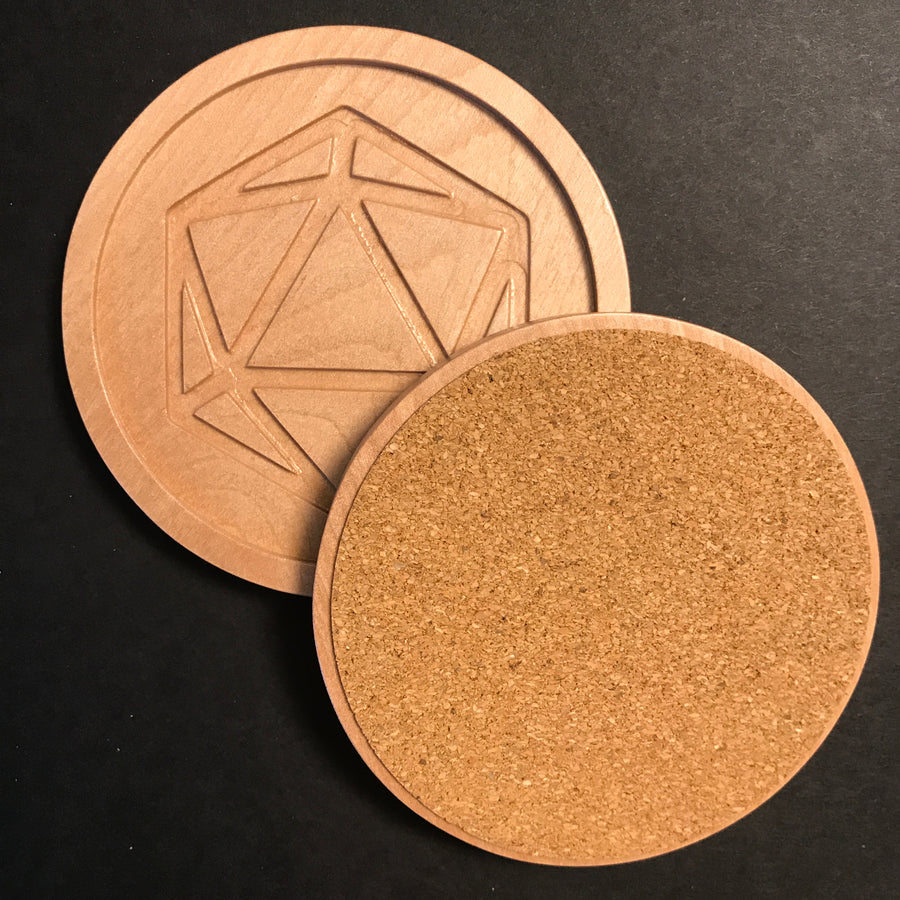Birch Polyhedral Dice Coasters w/recessed base (set of 6)