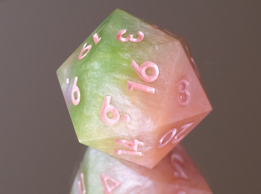 Honeydew Melon (peach and light green) D20 w/Light Coral ink