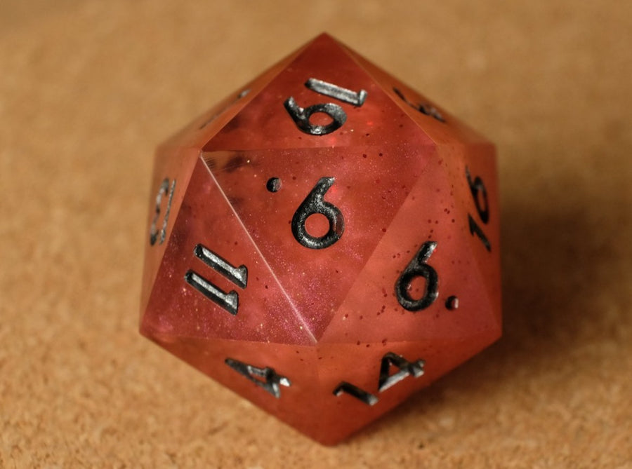 Red+Clear smoke effect D20 w/red glitter & metallic pewter ink
