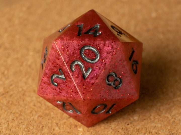 Red D20 w/red glitter & metallic pewter ink