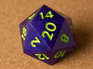 Purple D20 w/bright lime green ink