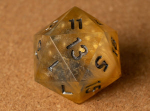 Gold +Silvery blue swirl w/smoke effect D20 w/zinc ink