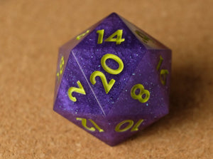 Purple D20 w/matte lime green ink