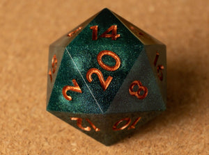 Emerald green D20 w/metallic copper ink