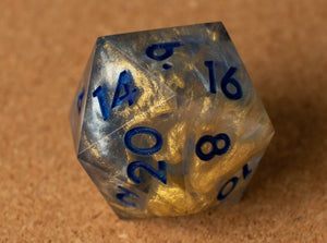Silvery blue + Gold vortex w/smoke effect D20 w/matte dark blue ink