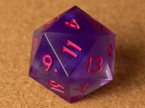 Purple smoke effect D20 w/matte hot pink ink