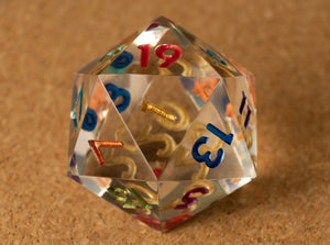 Crystal clear D20 w/metallic rainbow ink (#1)
