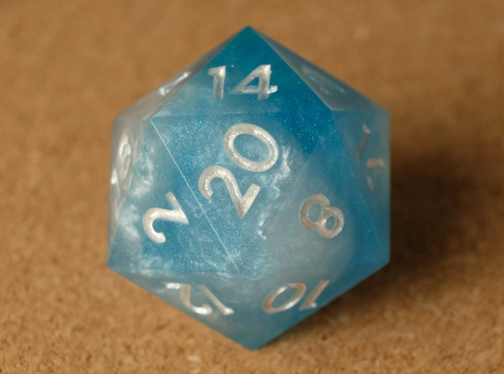 Blue sky D20 w/metallic white ink