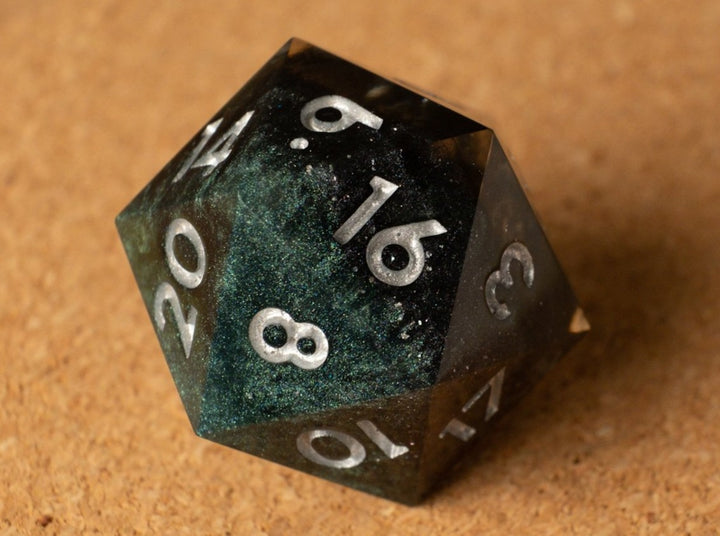 Black + Emerald swirl w/smoke effect D20 w/metallic silver ink
