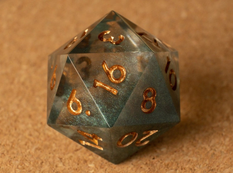 Green smoke effect D20 w/metallic copper ink