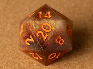 Root beer float D20 w/matte orange ink