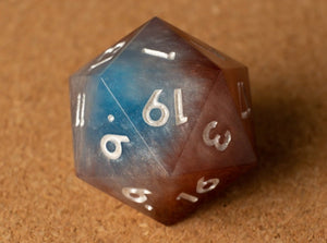 Blue +White +Brown +Gold layered D20 w/metallic white ink